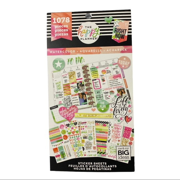 The Happy Planner Watercolor Stickers NEW